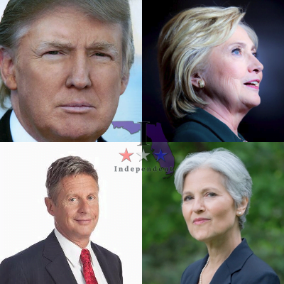 Donald Trump, Hillary Clinton, Jill Stein, Gary Johnson